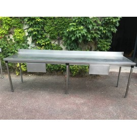 TABLE INOX 290 x 70 cm