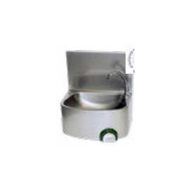 Lave-mains inox cuve semie-circulaire avec dosseret