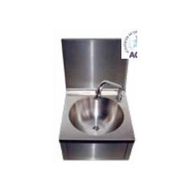 Lave-mains inox cuve ronde avec dosseret