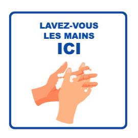 Panneau d'informations - Visuel Lavage mains Panneau Simple (Grand format)